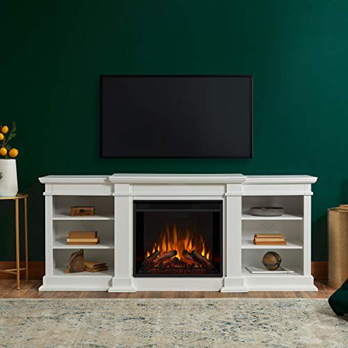 Unit G1200E Fresno Entertainment with Electric Fireplace, Large, White - Real Flame G1200E-W