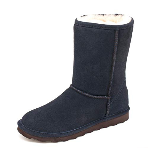 BEARPAW Elle Short Mid-Calf Boots for Women Exclusive Colors with Stain Repellent Treatment blue Size: 6 UK
