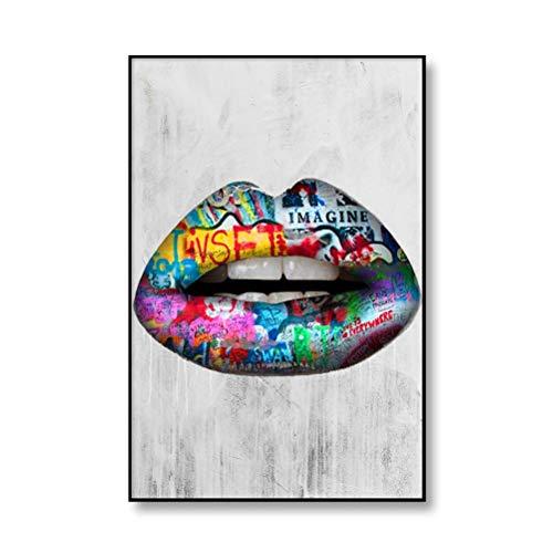 DFSDG Straßengraffiti Kunst Leinwand Malerei Liebhaber Hände Kunst Wand Poster und Drucke Lip Parfüm Artwork Bild für Wohnzimmer Dekor (Color : Style 1, Size : 60x90cm Frameless)