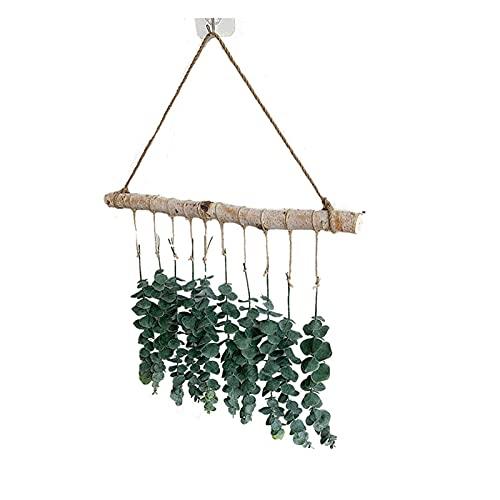 Fujida Decoración de pared para colgar en la pared, flor artificial de eucalipto, decoración de hojas de hogar, adecuado para boda, dormitorio, cocina