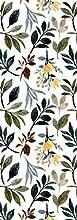 Deco&Fun - Alfombra Vinílica Nature Verde y Blanca Floral Lily 200x140cm - Alfombra PVC Alfombra vinílica Cocina- Alfombra vinílica salón - Alfombras de Vinilo