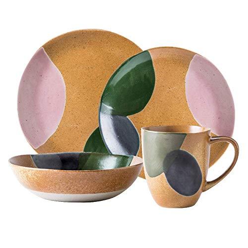 aedouqhr Juegos de vajilla de cerámica Vintage, Juegos de vajilla de Porcelana con Fondo Amarillo y Acabado de Acuarela Verde, Juego de Platos y Cuencos, combinación de Servicio de Mesa para 1 Person