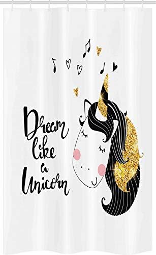 ABAKUHAUS Sprichwort Duschvorhang, Traum wie EIN Einhorn, Badezimmer Deko Set aus Stoff mit Haken, 120 x 180 cm, Gelb & Dunkelgrau