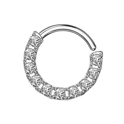 Piersando Piercing Continuous Ring 925 Silber mit Kristall Glitzer Septum Tragus Helix Ohr Nase Nasenpiercing Ohrpiercing Tribal Silber 1,2mm x 8mm