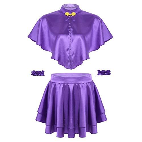 FEESHOW Frauen Halloween Kostüm Stehkragen Cape mit Satin Rock und Armband Cosplay Outfits Party Drama Musicals Lila Violett XX-Large