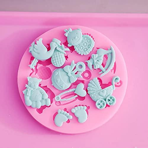 ANGYANG Molde De Fondant De Silicona 3D para Fiesta De Bienvenida Al Bebé para Decoración De Pasteles, Moldes De Chocolate para Manualidades con Azúcar, Herramientas, Envío Directo