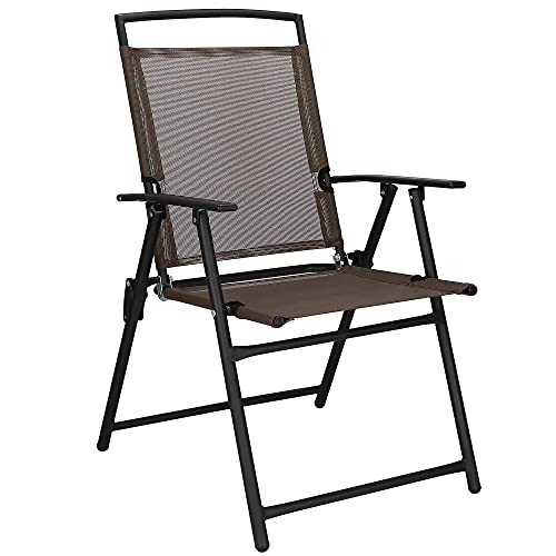 SPRINGOS Silla plegable de metal para jardín, balcón, patio, con reposabrazos, color marrón