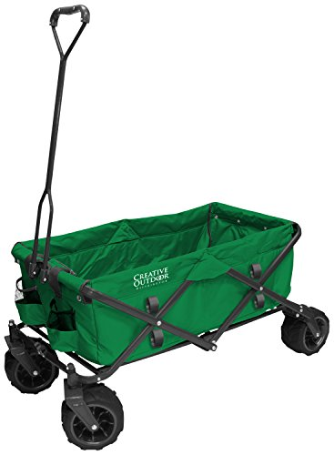 Creative Outdoor Distributor All-Terrain Folding Wagon, (Green) - Divider Included - Multipurpose Cart for Gardening, Camping, Beach Trips, and Travelling