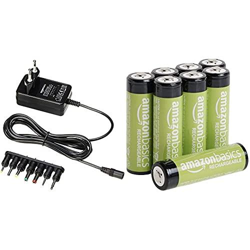 Amazon Basics - Universal-Steckernetzteil mit 7 abnehmbaren Steckern, 3-12V (Gleichspannung), umkehrbare Polarität & AA-Batterien, wiederaufladbar, vorgeladen, 8 Stück (Aussehen kann variieren)