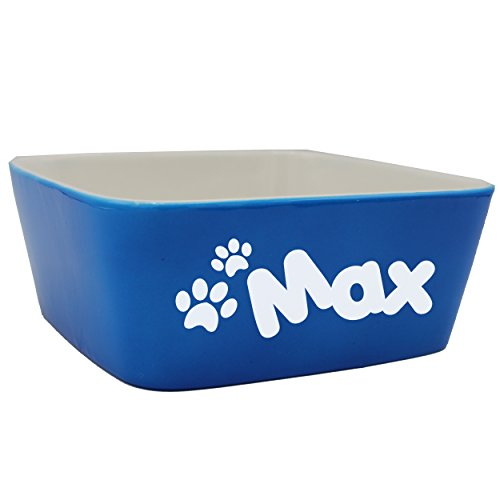 Custom Personalized Pet Bowl Gift - Engraved Dog and Cat Bowls - Monogrammed Ceramic Dish (Large - 7