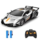 Holyton Remote Control Car 2.4GHz RC Cars for Kids and Toddler, 1/18 Scale Model Electric Vehicle with LED Lightning, 2 Rechargeable Batteries, Fast Car Toys for Boys and Girls, Color Silver