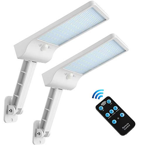 MixMall Solar Lights Outdoor with Remote Adjustable Pole 56Led,Waterproof, Motion Sensor Multi-Mode Solar Security Light for Fence,Road,Yard,Porch,Corridor,Garden ,Grage(56LED-WHITE-2PACK)