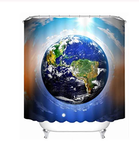 FFCLZ La Madre Tierra Cortinas de Ducha 3D Planeta Azul Planeta Cortina Baño a Prueba de Agua Espesar Cortinas de baño