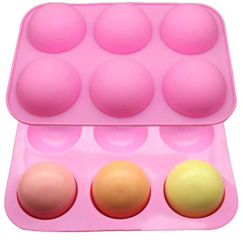 Silicone Molds For Baking,Chocolate Mold,6 Holes Round Silicone Baking Mold,Half Ball Sphere Silicone Cake Mold Muffin Chocolate Cookie Baking Mould Pan (2pcs Pink)