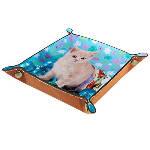 MUOOUM Büro-Tablett, niedliche Katzen-Glocke, Blau, Leder-Tablett, Sorage-Boxen, kleine Auffangschale für Zuhause und Büro, Leder, Multi, 20.5x20.5cm