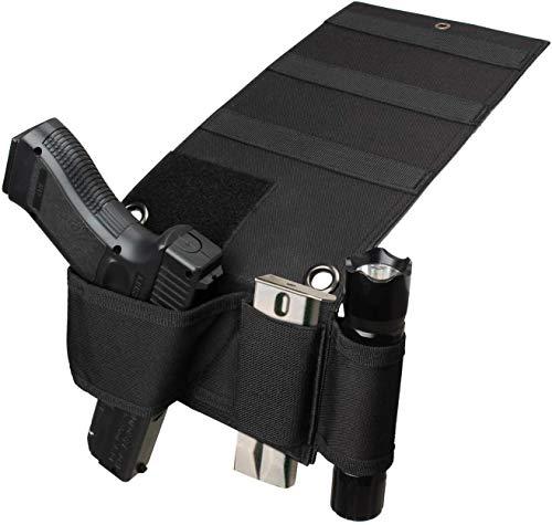 KEYPOWER Tactical Bed Pistol Holster, Bedside Gun Holster,Mattress Car Desk Home Office Gun Holster Universal with Flashlight Loop
