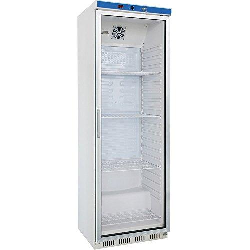 Koelkast met glazen deur 600 x 600 x 1850 mm 361 L 0,11 kW 230 V witte behuizing van gepoedercoat plaatstaal convectiekoeling