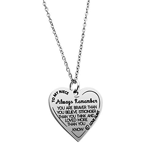 Ankiyabe Niece Inspirational Gifts Necklace Engraved Message Heart Pendant Necklace Encouragement Niece Gift from Aunt Uncle (to My Niece Always Remember You are Braver)