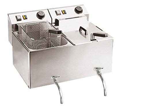 Professionele dubbele friteuse met aftapkraan, roestvrij staal, 2 x 8 liter, 6000W, 50-190°C; FE-77V GGG