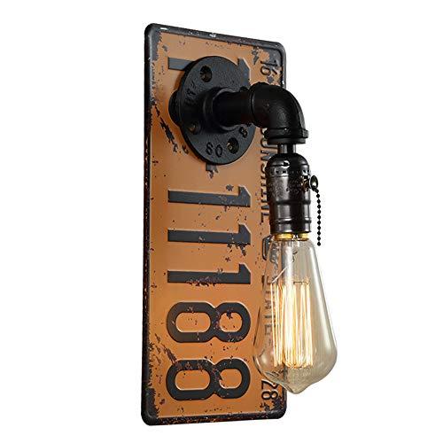 YML Retro-Lizenz-Wand-Lampe Kreative Wasserrohr-Wandleuchte Schmiedeeisen Wandleuchter E27 Metallbefestigung Eingang Korridor Cafe Bar Schlafzimmer Restaurant Nacht Edison 1-Lichter,Gelb