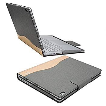iCarryAlls Executive Surface Book Laptop Case Detachable Protective Flip Case Cover for 13.5 inch Microsoft Surface Book 2 Gold-Gray  WMQ023-Gray