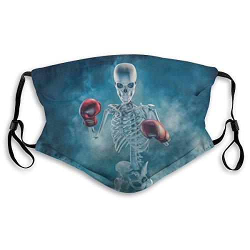 Waschbarer Mundschutz Anti-Staub-Gesichtsschutz,Phantom Boxer 3D Scary Fighter Skelett mit Boxhandschuhen Zeichen auftauchen,Wiederverwendbar winddicht für Outdoor-Ski Radfahren Camping Laufen