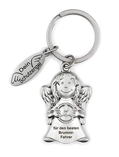 ART + emotions Schlüsselanhänger Autofahrer Schutzengel - für den besten Brummi Fahrer - 3D Optik mit Glasstein - Glücksbringer, Mutmacher und Talisman - inkl. schöner Geschenkbox.