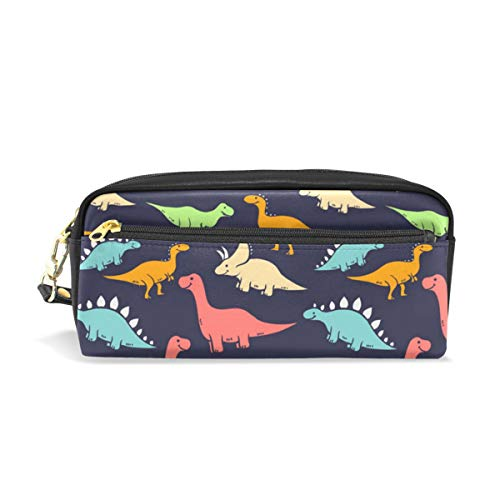 Baofu Dinosaur Leather Pencil Case Pen Zipper Pouch Cosmetic Makeup Bag Cute Handmade Soft Pencil Student Stationery Holder for Kids Teenagers Women Men