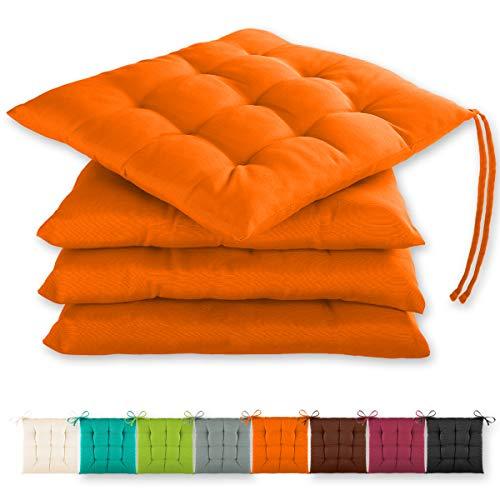 Gräfenstayn® 4er-Set Sitzkissen 40x40x3cm mit Haltebändern für Indoor und Outdoor mit Öko-Tex Siegel - (Orange)