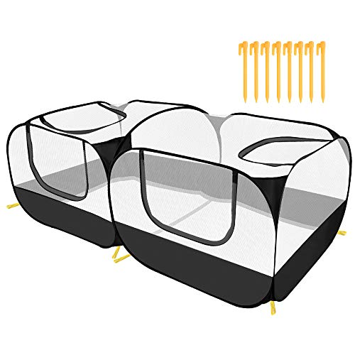 SlowTon Small Animals Playpen, Portable Large Chicken Run Coop with Breathable Transparent Mesh Walls Foldable No Bottom Pet Cage Tent with 4 Zipper Doors for Puppy Kitten Rabbits Outdoor Yard (B)