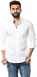 moudlin Men's Solid Casual Mandarin Shirt by Maruti Online