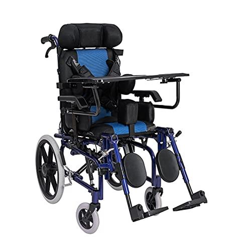 Silla De Ruedas Manual Para Niños, Scooter Plegable De Aleación De Aluminio Para Discapacitados Multifuncional Para Niños Completamente Acostado Con Reposacabezas Y Soporte Para Las Piernas