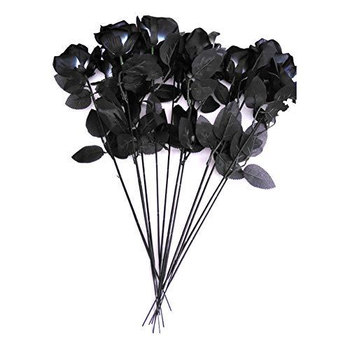 Aisoway De Halloween Artificiales De Rose Ramos Negro Seda Falso Flores De Rose con La Hoja para El Día De San Valentín del Banquete De Boda del Hotel del Jardín Decoración