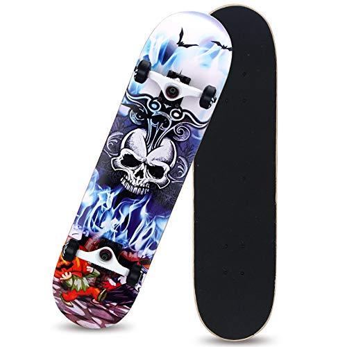 Skateboard mit ABEC-9 Kugellager, aus 8 Schichten kanadischem Ahornholz Longboard mit Alloy Deck Erwachsene Jungen Mädchen Skateboard,Blue Devil