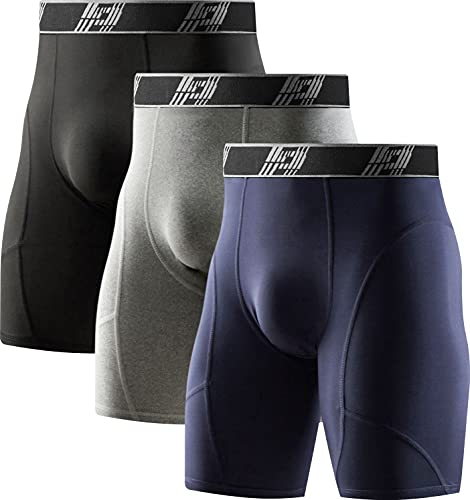 HOPLYNN 3er Pack Kompressionshosen Herren Tights Kurz Funktionsunterwäsche Sport Unterhose Schnelltrocknendes Laufhose Schwarz/Grau/Blau M