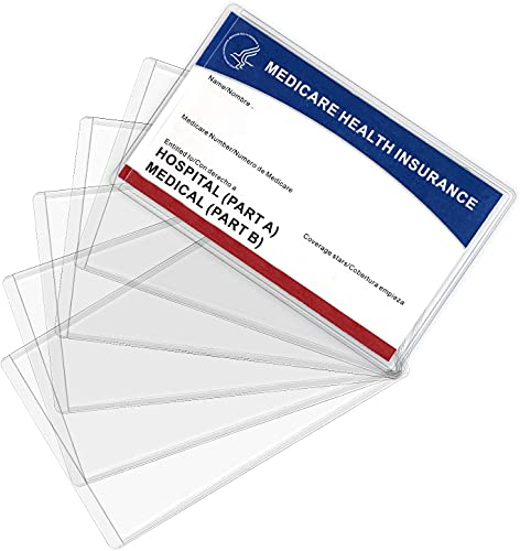 10 Pack New Medicare Card Holder Protector Sleeves,10 Mil Clear PVC Water Resistant Medicare Card Protectors Sleeves for New Medicare Card,Social Security Card Protector Business Cards