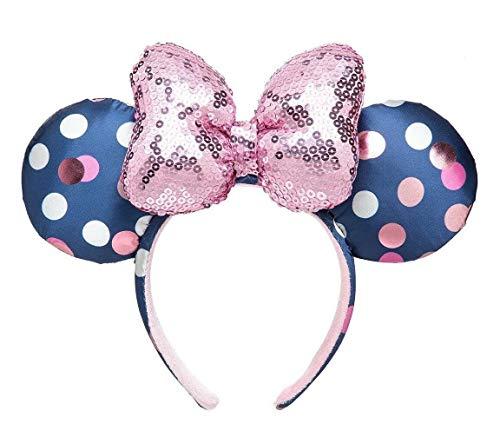 Disney Parks Minnie Mouse Navy Blue Polka Dot Ears Pink Sequin Bow Headband
