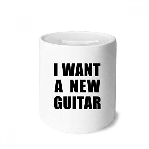 DIYthinker Ich möchte eine Neue Gitarre Spardose Sparkassen Keramik Münzfach Kinder Erwachsene 3.5 Zoll in Height, 3.1 Zoll in Duruchmesser Mehrfarbig