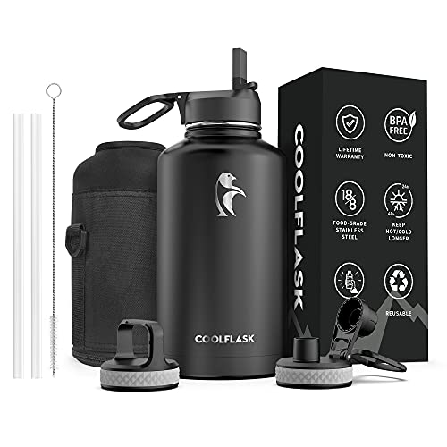 64 Water Bottle oz with Straw & Spout Lid, Coolflask Insulated Water...