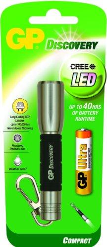 GP Batteries 260lce202silver-c1 – Lanterne (Hand Flashlight, Noir, Acier inoxydable, aluminium, caoutchouc, LED, AA)