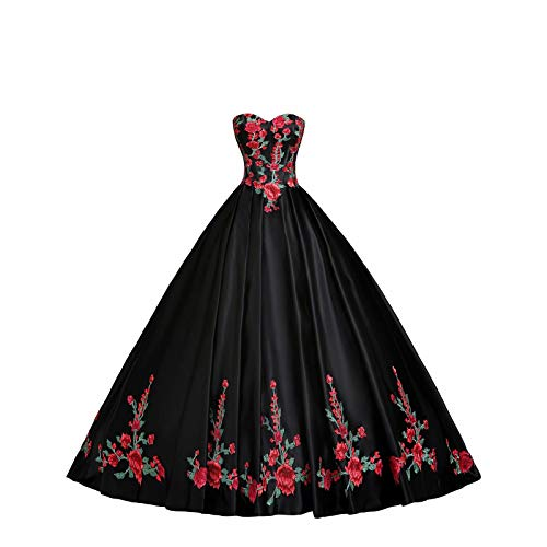 Luxury Red and Green Embroidered Quinceanera Dresses Prom Strapless Ball Gowns Formal Dress Gradaution Black 4