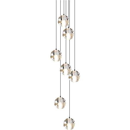 CARYS LED Luminaire Plafonnier Lustre Cristal Moderne lumiere decoration Plafond Suspension Rond 7-ampoule 2W 2700K pour Enfant Chambre Cuisine Salon Couloir