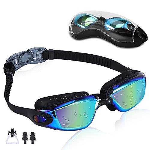 Rapidor anteojos de natación para hombres, mujeres, adolescentes, antivaho, protección UV, a prueba de fugas, serie RP905, múltiples opciones, Black- Mirrored Lenses