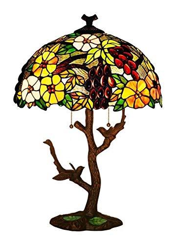Tiffany lámpara de mesa Lámpara de Noche Multi-color de la lámpara forma del árbol de mesa de estilo Tiffany, lámpara de escritorio de cabecera vidrieras iluminación de la tabla de la flor / uva / ave