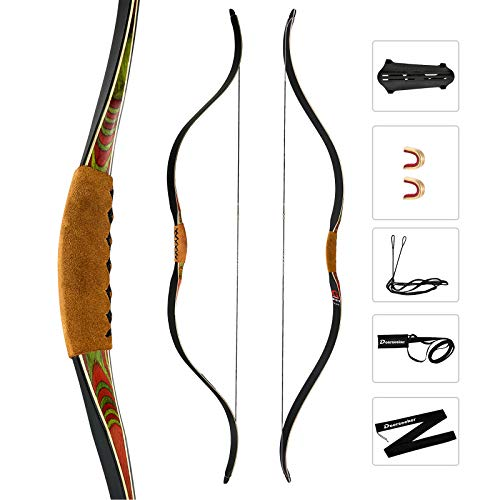 """Deerseeker Archery 52"""" Recurve Bows Traditional Handmade Longbow Ambidextrous Horsebows for Adults & Youth Hunting Target Shooting 40lb"""