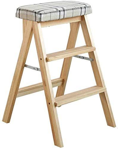 Taburete plegable multiuso escaleras de tijera asiento de heces de almacenamiento de madera 3 Pasos Cocina Escalera Asiento portable del hogar de alta Banco de doble cara antideslizante Escalera del t: Amazon.es: