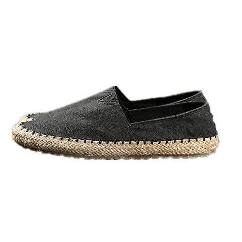 YQ WHJB Zapatos de Pescador Zapatos Casuales de Paja para Hombre Zapatos de Lona con Fondo de tendón Zapatos de Personalidad de Moda