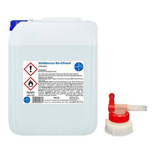 Waldbeeren Alkohol I Kamin-Ethanol I vollvergällt I 10 Liter I Bioethanol I inkl. 1 x AGH I HERRLAN-Qualität I Made in Germany