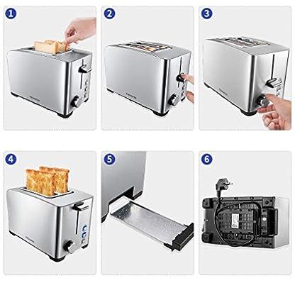 FREIHAFEN-Edelstahl-Toaster-2-Scheiben-Toster-800W-Automatik-Toaster-mit-6-Brunungsstufen-Auftaufunktion-Wiederaufwrmen-Brtchenaufsatz-Edelstahlgehuse-Doppelteschlitzen-und-Krmelschublade