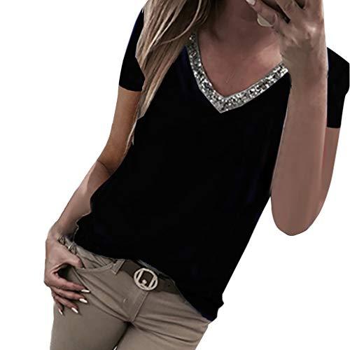 VEMOW Camisetas Moda Mujer Casual Lentejuelas de Manga Corta con Cuello en v Tops Blusa Casual Camiseta(Negro,XL)